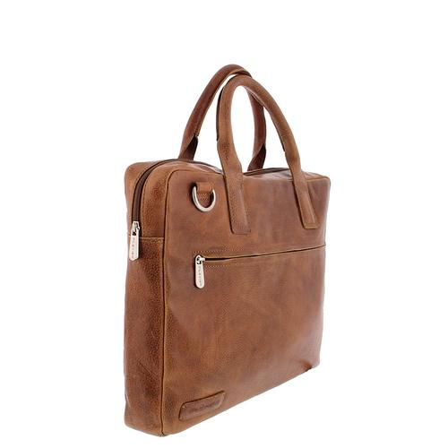 "Plevier Brooklyn Laptop bag 15.6"" Full grain leather Cognac product photo  L"