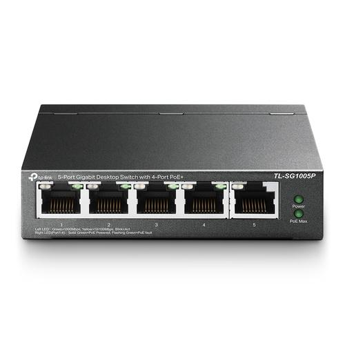 TP-LINK TL-SG1005P network switch Unmanaged Gigabit Ethernet (10/100/1000) Power over Ethernet (PoE) Black product photo