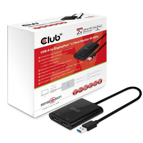 CLUB3D USB A to DisplayPort™ 1.2 Dual Monitor 4K 60Hz photo du produit
