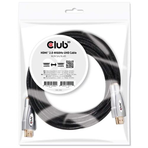 CLUB3D HDMI 2.0 4K60Hz UHD Cable 5m/16.4ft photo du produit