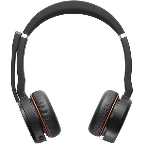 Jabra Evolve 75 MS Stereo Casque Arceau Bluetooth Noir, Rouge photo du produit