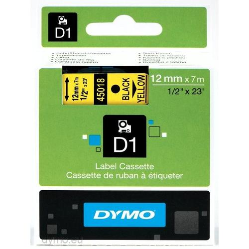 DYMO D1 -Standard Labels - Black on Yellow - 12mm x 7m productfoto