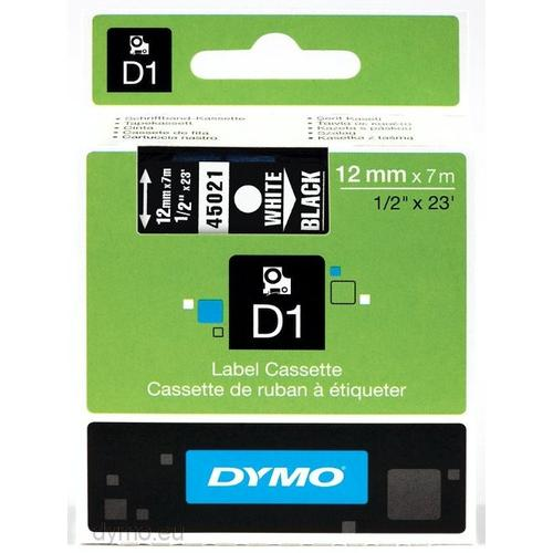 DYMO D1 -Standard Labels - White on Black - 12mm x 7m productfoto