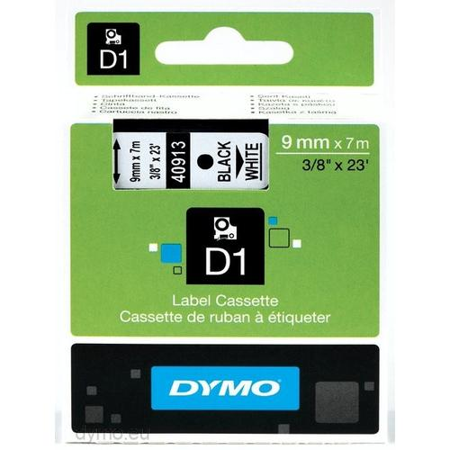 DYMO D1 -Standard Labels - Black on White - 9mm x 7m productfoto