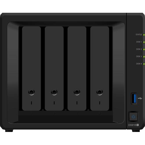 Synology DiskStation DS918+ data-opslag-server Ethernet LAN Desktop Zwart NAS productfoto