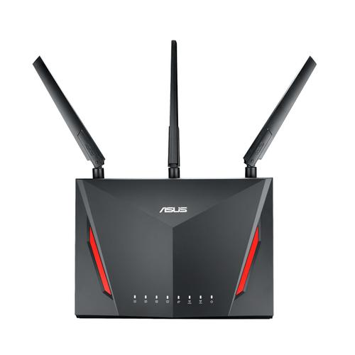 ASUS RT-AC86U draadloze router Dual-band (2.4 GHz / 5 GHz) Gigabit Ethernet Zwart productfoto
