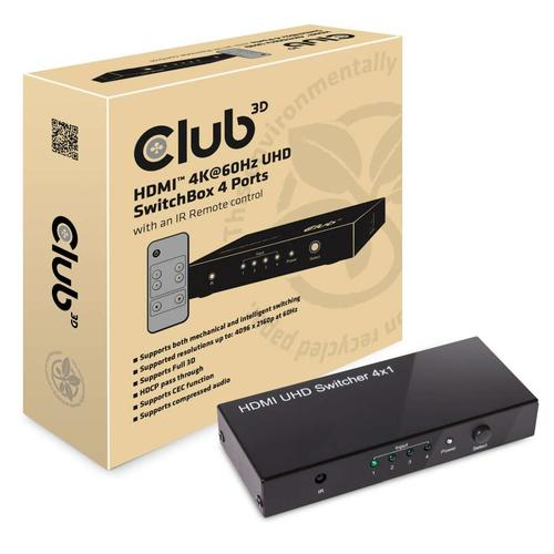 CLUB3D HDMI 2.0 UHD SwitchBox 4 Ports productfoto
