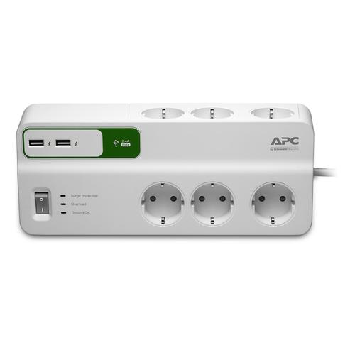 APC PM6U-GR surge protector 6 AC outlet(s) 230 V 2 m White product photo