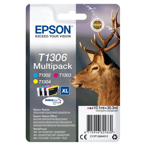 Epson Stag Multipack 3-colours T1306 DURABrite Ultra Ink product photo