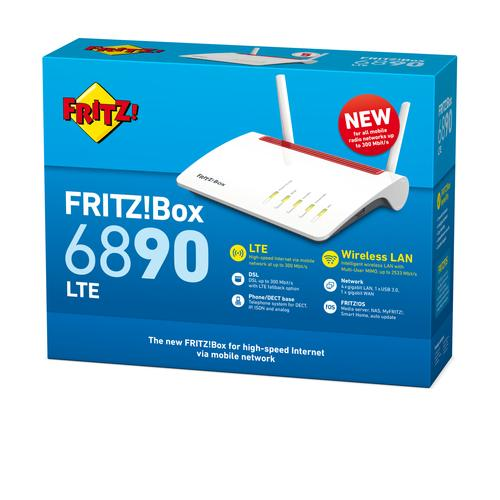AVM FRITZ!Box 6890 LTE International wireless router Dual-band (2.4 GHz / 5 GHz) Gigabit Ethernet 3G 4G Red,White product photo  L