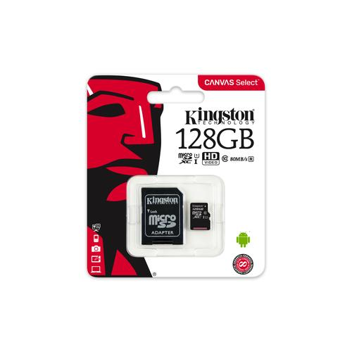 Kingston Technology Canvas Select memory card 128 GB MicroSDXC Class 10 UHS-I product photo  L