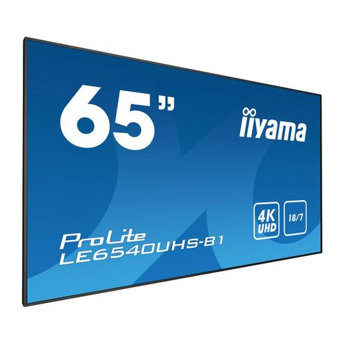 "iiyama LE6540UHS-B1 signage display 164.1 cm (64.6"") LED 4K Ultra HD Black product photo"