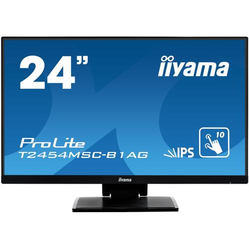 "iiyama ProLite T2454MSC-B1AG touch screen monitor 60.5 cm (23.8"") 1920 x 1080 pixels Black Multi-touch Multi-user product photo"
