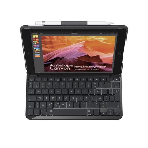 Logitech Slim Folio mobile device keyboard AZERTY French Black Bluetooth product photo