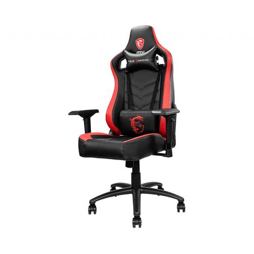 MSI MAG CH110 Gaming Chair 'Black and red with carbon fiber design, Steel frame, Reclinable backrest, Adjustable 4D Armrests, breathable foam, Ergonomic headrest pillow, Lumbar support cushion' product photo