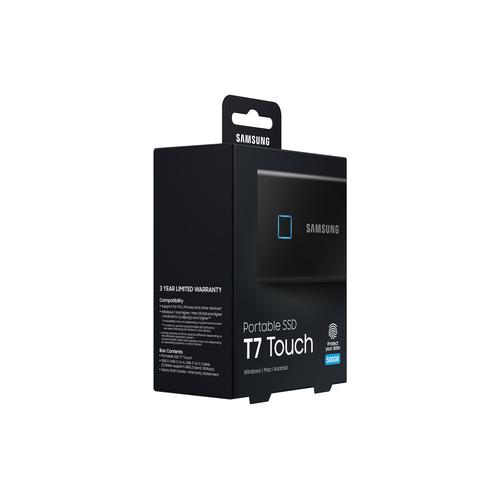 Samsung Portable SSD T7 Touch 500GB – Black product photo  L