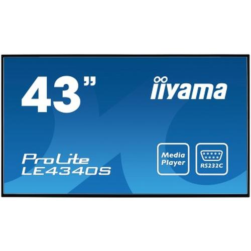"iiyama ProLite LE4340S-B1 109.2 cm (43"") LED Full HD Digital signage flat panel Black product photo"