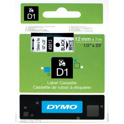 DYMO D1 -Standard Labels - Black on White - 12mm x 7m productfoto