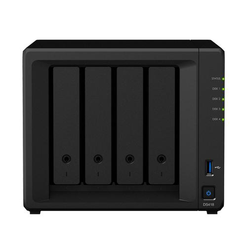 Synology DiskStation DS418 data-opslag-server NAS Mini Tower Ethernet LAN Zwart RTD1296 productfoto