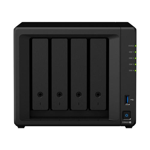 Synology DiskStation DS920+ data-opslag-server NAS Mini Tower Ethernet LAN Zwart J4125 productfoto