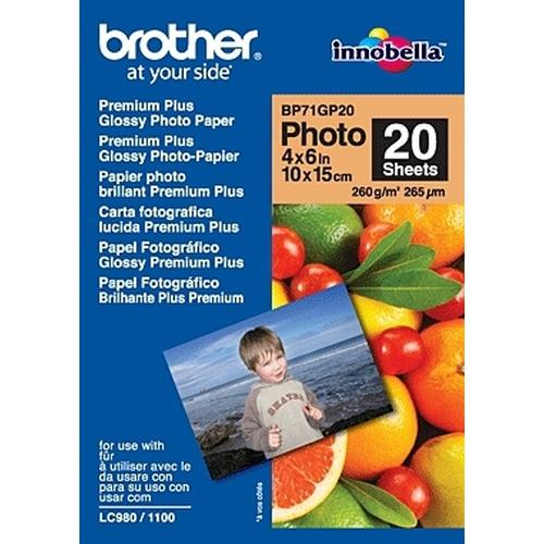 Brother BP71GP20 Premium Glossy Photo Paper pak fotopapier Wit productfoto