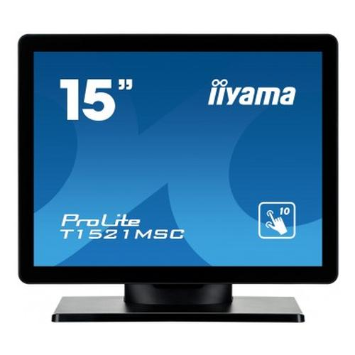 "iiyama ProLite T1521MSC-B1 touch screen-monitor 38,1 cm (15"") 1024 x 768 Pixels Zwart Multi-touch Tafelblad productfoto"